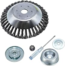 GS 6Pcs 8 Inches Steal Wire Brush Cutter Trimmer Head Set,with Thrust Washer, Rider..