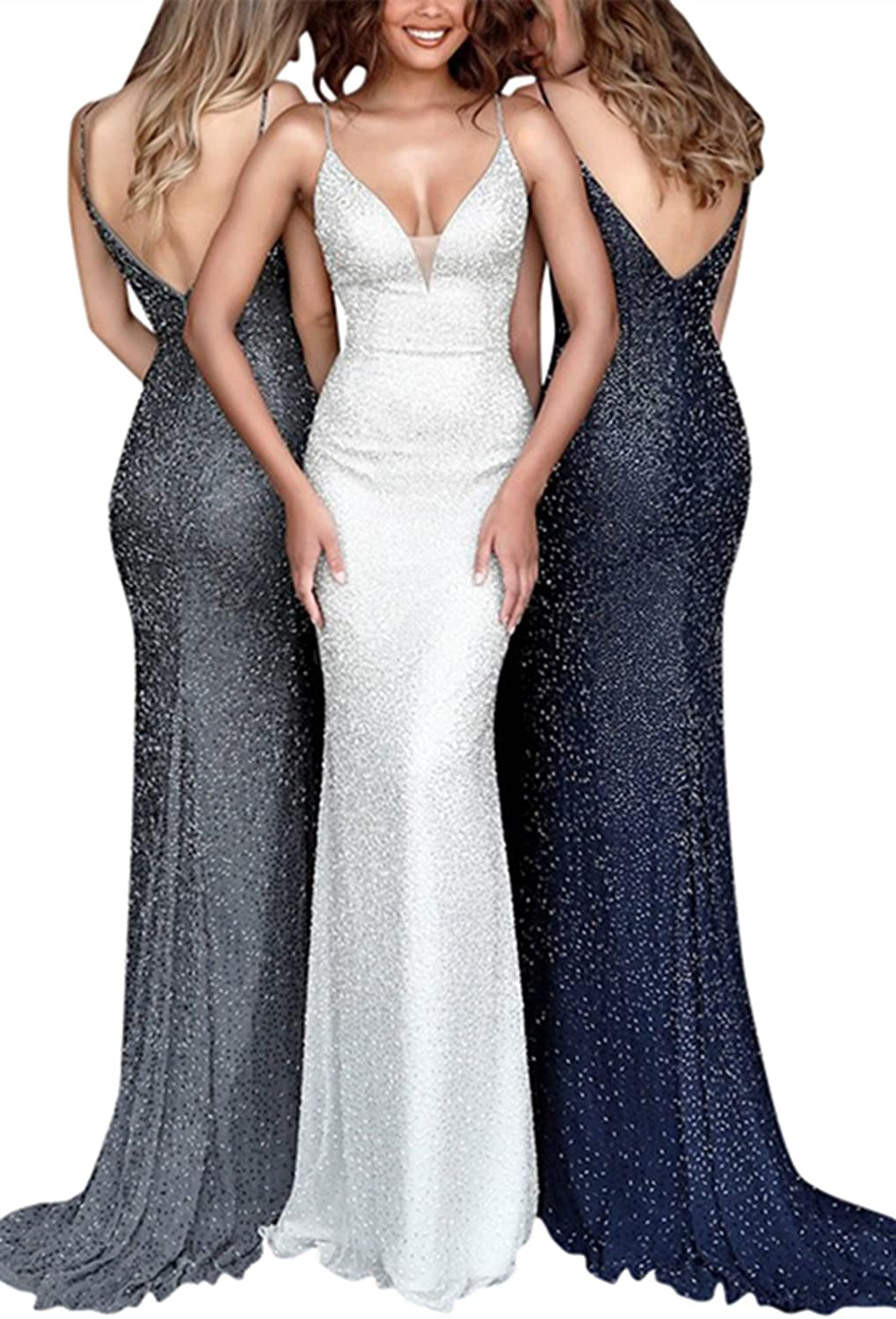 Homdor Women Double V Neck Mermaid Sequins Bridesmaid Dresses Long Evening Gown