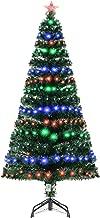 HOMCOM Pre-Lit Douglas Fir Artificial Christmas Tree with Fiber Optic / LED Lights and 8 Pre-Programmed Settings, 6' Tall