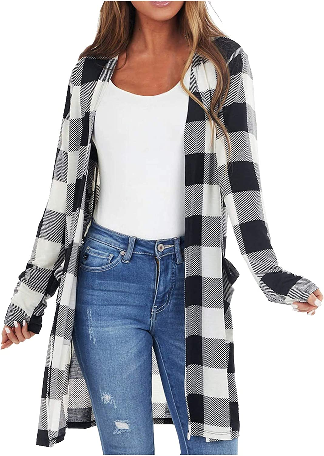 Women's Popular standard New Shipping Free Cardigans Coats Casual Plaid Front Sleev Print Open Long