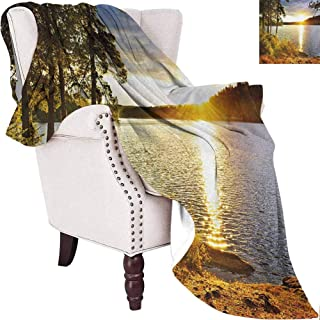 MKOK Landscape Commercial Grade Printed Blanket Sunset Dawn in The Forest Over Lake of Two Rivers Algonquin Park Ontario Canada Queen King W54 x L72 Inch Multicolor