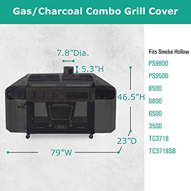SunPatio Outdoor Heavy Duty Waterproof Grill Cover for Smoke Hollow Gas/Charcoal Grill and More, UV Resistant Barbecue 79 Inc