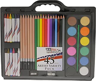 US Art Supply Brand 45 Piece Art Set with Water Colour Cakes Now Includes a Free Reusable Plastic Carry Case.