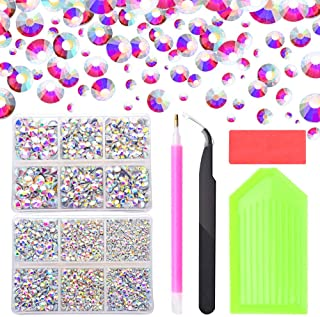 5100pcs Crystal AB Hot Fix Rhinestones, 2mm/3mm/3.2mm/4mm/5mm/6mm Mixed Large Rhinestones for Crafts Clothes�Shoes, Flatback Hotfix Glass Gems Stones with Containers Box/Tweezers/Picker Dotting Pen