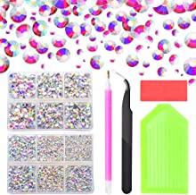 5100pcs Crystal AB Hot Fix Rhinestones, 2mm/3mm/3.2mm/4mm/5mm/6mm Mixed Large Rhinestones for Crafts ClothesShoes, Flatback Hotfix Glass Gems Stones with Containers Box/Tweezers/Picker Dotting Pen