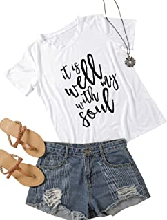 ZJP Women Crew Neck It's Well with My Soul Letter Printed Short Sleeve Shirt Top