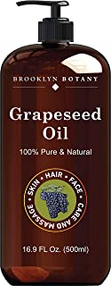 Brooklyn Botany Grapeseed Oil for Skin – 100% Pure and Cold Pressed – Carrier Oil for Essential Oils, Aromatherapy and Mas...