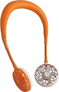 SPICE OF LIFE(スパイス) 携帯扇風機 WFan ダブルファン ハンズフリー ver.2.0 オレンジ 首掛け USB充電式 風量3段階 角度調整可 DF201OR01.2020モデル