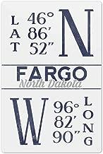 Lantern Press Fargo, North Dakota - Latitude and Longitude (Blue) 67036 (6x9 Aluminum Wall Sign, Wall Decor Ready to Hang)