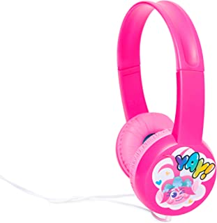 Trolls World Tour Kid Safe Headphones Over The Ear Padded Cushions with Princess Poppy Yay Graphic