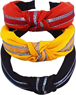 STHUAHE 3 PCS Women Girl Exquisite Handmade Pure Color Fashion Cloth airt Cross Knot Hair Hoop Hairband Headband Headwear Hair Accessories by Beauty Hair (3 Color)