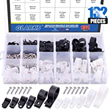 Glarks 132Pcs 6 Sizes 1/4''-1'' Black and White Nylon Screw Mounting R-Type Cable Clip Wire Clamp with 132Pcs Screws for Wire, Cable, Conduit and Cable Conduit Kit