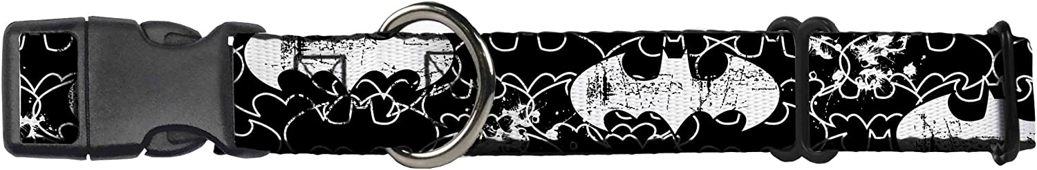 BuckleDown MGCWBM004WM Martingale Plastic Clip Collar, Batman Outlines Black White, 1.5  by 1623