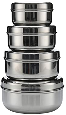 18/8 Stainless Steel pack set of 4 nesting Lunch Box and food storage container set - Eco friendly, Dishwasher Safe, BPA free, Great for snacks, food storage or leftovers 300cc, 475cc, 710cc, 887cc