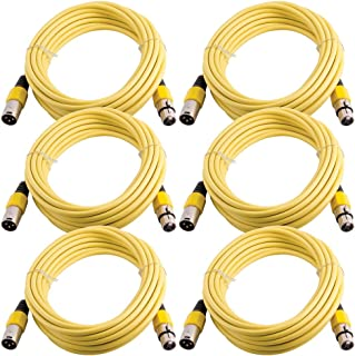 Grindhouse Speakers - LEXLR-25Yellow-6Pack - 6 Pack of 25 Foot Yellow XLR Microphone Cables - 25 Foot Mic Cables Patch Cords