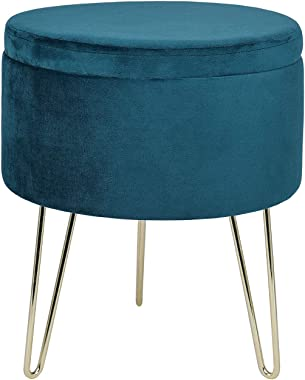 GLOVAL HOME Modern Round Velvet Storage Ottoman Footrest Stool/Seat with Gold Metal Legs & Tray Top Coffee Table,Vanity Stool