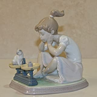 Lladro Figurine, 5474 How You've Grown!, Girl weighting kitty