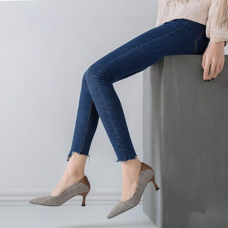 Einfacher Schuh Spitz mit High Heels Plaid Wilden Flachen Fersen Schuhe