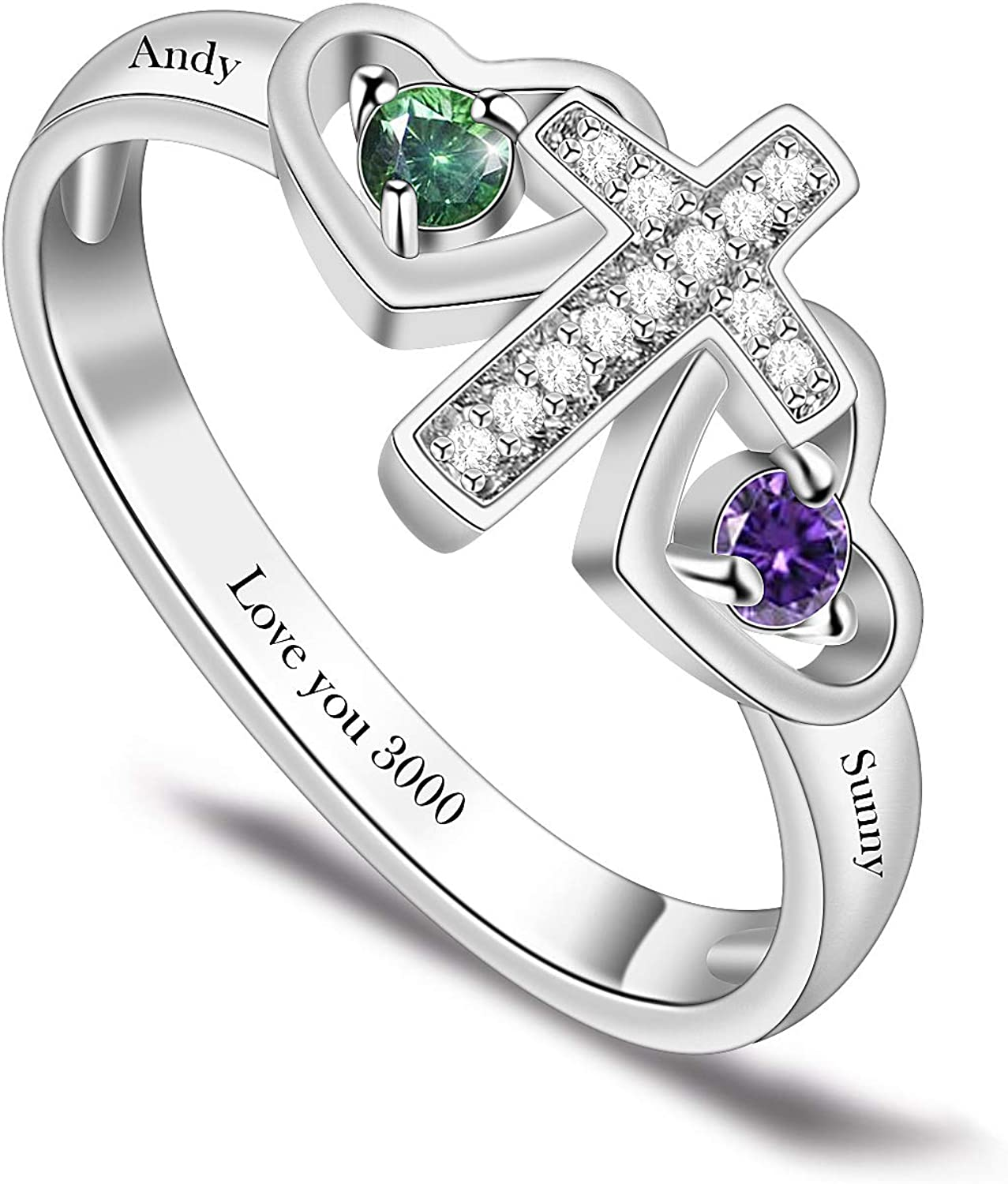 BAUMA AUTO Mothers Ring Personalized Mothers Rings with 1/2/3/4/5/6/7/8 Simulated Birthstones for Grandmother Mother Meaningful Anniversary Rings for Women Wife