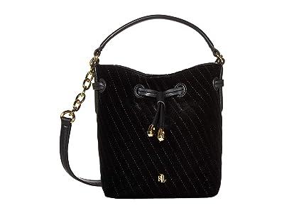 LAUREN Ralph Lauren Debby III Drawstring Mini (Black Quilted Velvet) Handbags