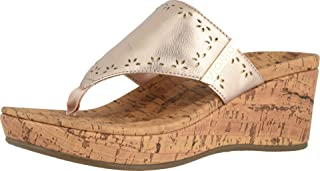 Vionic Women's Anitra Wedge Sandals -Toe-Post Platform Sandal with Concealed Orthotic Arch Support Rose Gold 7 Medium US