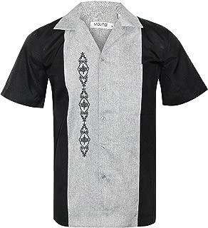 Guayabera Cuban Men's Two Tone Panel Beach Wedding Short Sleeve Button Up Casual Dress Embroidered Shirt
