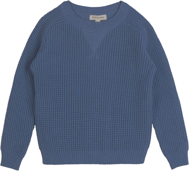 Mini Phoebee Little Boys' Long Sleeve Crew Neck Waffle Weave Cotton Pullover Sweater