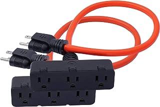 KMC 3-Outlet Power Extension Cord 2-Pack, 12AWG 2-Feet Extension Cord, 125V/15Amp 1875Watt, Orange