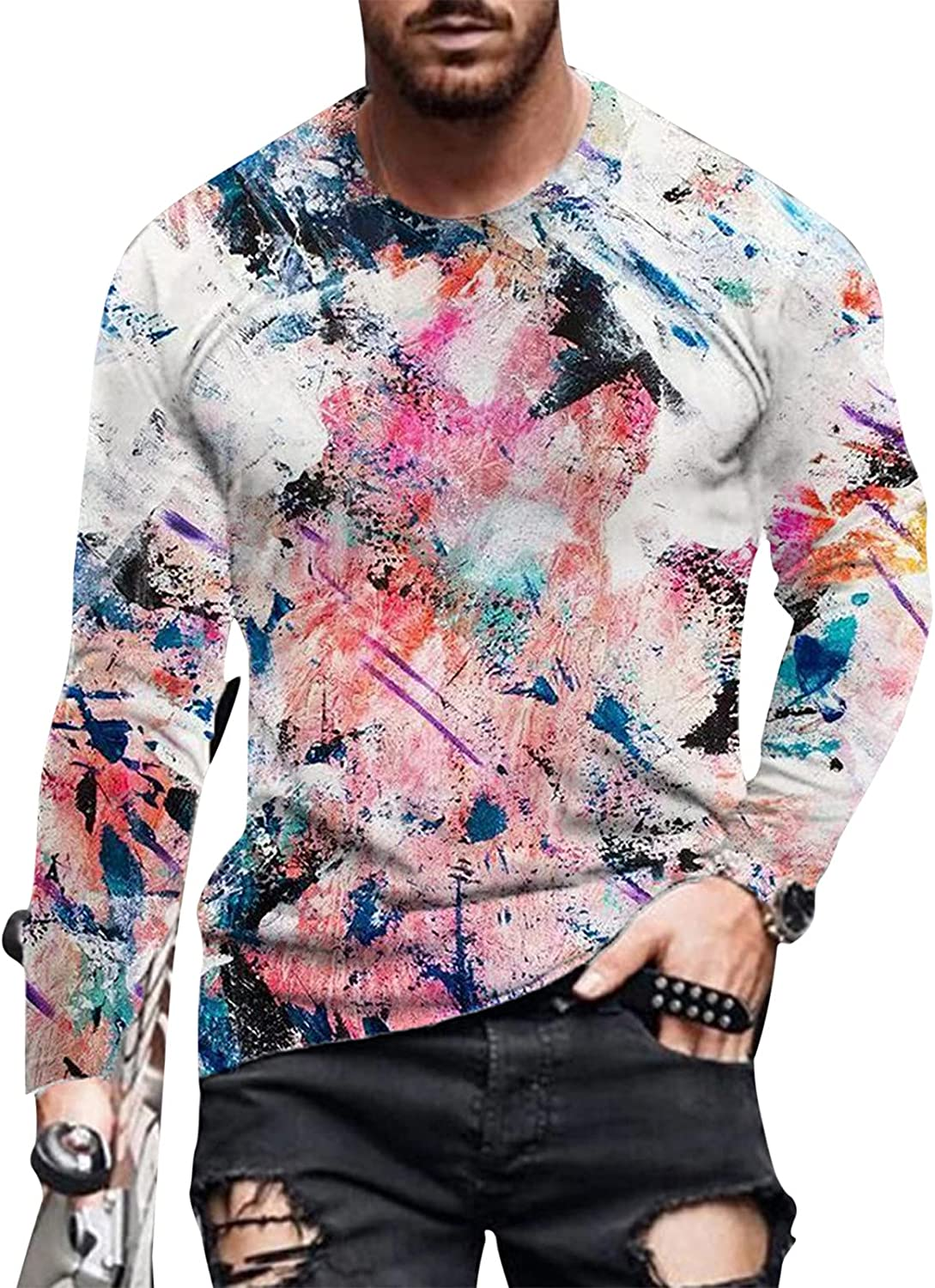 XXBR Soldier Long Sleeve T-shirts for Mens, Fashion 3D Novelty Oil Painting Print Workout Fit Casual Crewneck Tee Tops