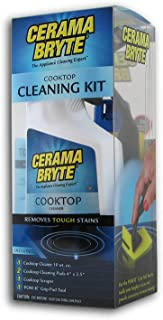 Cerama Bryte - Cooktop Cleaning Kit - Includes 10 oz. Bottle of Cerama Bryte Cooktop Cleaner, 2 Cleaning Pads, 1 POW-R Grip Pad Tool and 1 Scraper packed in Reusable Container