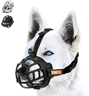 wintchuk Soft Silicone Basket Dog Muzzle Mouth Cover with Nylon and Reflective Neck Straps for Small, Medium and Large Dogs, Anti Barking, Biting, Chewing and Licking, Adjustable