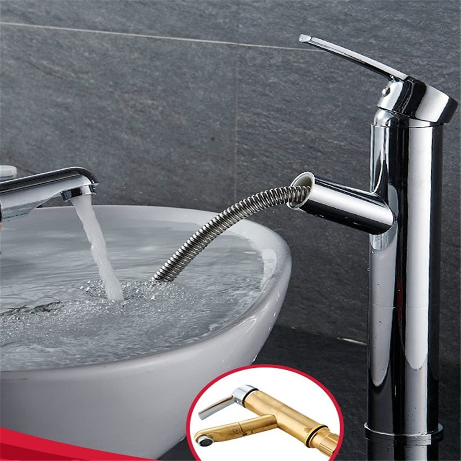 LHbox Basin Mixer Tap Bathroom Sink Faucet All copper pull faucet hot and cold basin wash-hand basin single hole basin mixer round plated with high scalability