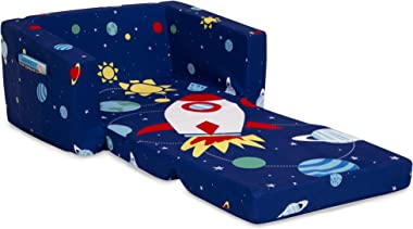 Delta Children Cozee 2-in-1 Convertible Sofa to Lounger - Comfy Flip Open Couch/Sleeper for Kids, Space