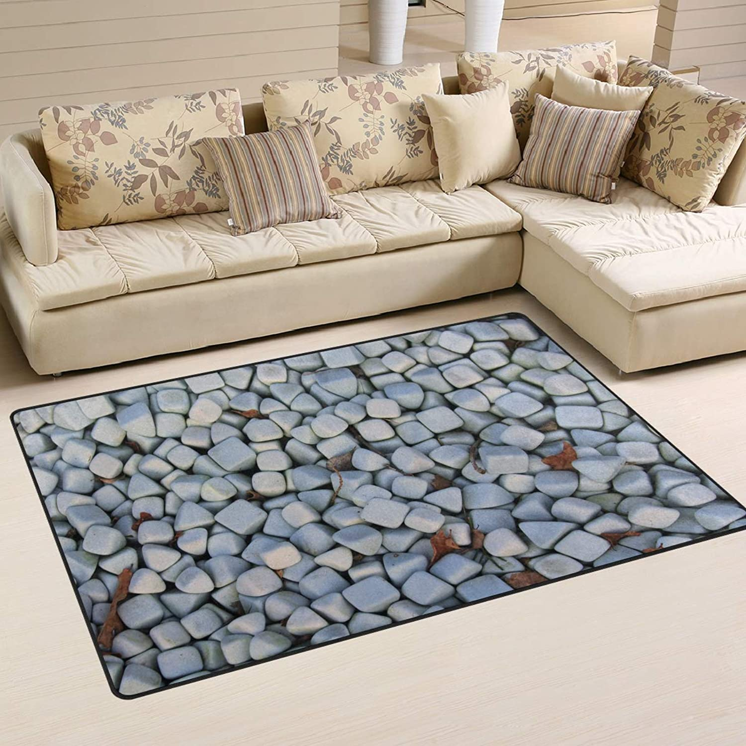 FANTAZIO Area Rug Accessories Shape Square Triangle Pebbles Entry doormats for Corners and Edge Anti-Curling Ideal Rug Stopper 31x20in 60x39in