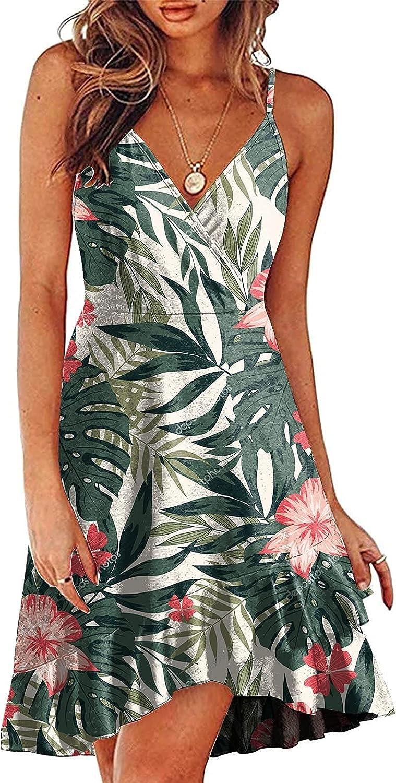 Peigen Women's Summer Dresses V Neck Dress Elegant Casual Boho Dresses Sexy Spaghetti Strap Sleeveless Beach Sundress Short