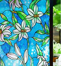 Rabbitgoo Privacy Window Film Stained Glass Window Film Static Cling Frosted Window Film Decorative Anti UV Window Sticker for Home Kitchen Bedroom, Lily Pattern 17.5 x 78.7 inches