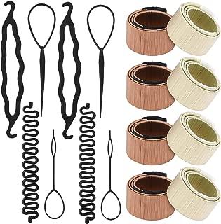 16 Pcs Hair Bun Maker Hair Bun Shaper Topsy Tail Ponytail Loop Magic French Hair Braiding Pull Through Tool Twist Plait Hair Styling Tool Hairstyle Accessories