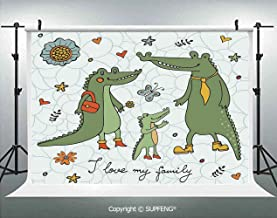 Background I Love My Family Theme Cute Hand Drawn Alligators Natural Background Fun Graphic 3D Backdrops for Interior Decoration Photo Studio Props