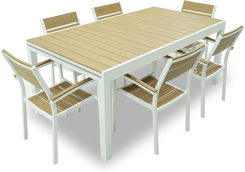 Juego de mesa con 6 sillas de jardín extensibles de 180/250 x 100 x 75 cm de altura de aluminio blanco con tablero de madera de color teca.