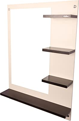 Anikaa Mavis Dressing Wall Mirror with Shelves (White/Wenge)
