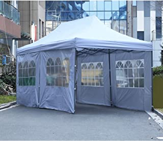 LEISURELIFE Outdoor Pop Up Canopy Tent 10'x20' with 4 Sidewalls- White Folding Commercial Gazebo Party Tent with Wheeled Carry Bag