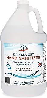 Drivergent Hand Sanitizer, 80% Alcohol Liquid, 1 Gallon Jug (128oz), unscented, antiseptic disinfectant refill