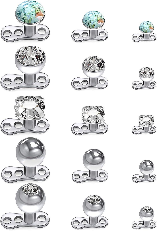 Cisyozi 14g Clear CZ Dermal Anchor Tops and Base Titanium Microdermals Piercing Body Piercing Jewelry for Women Men 2mm 3mm 4mm 15PCS