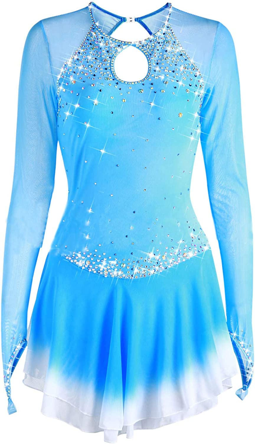 Heart&M Handmade Ice Skating Dress For Girls, Figure Skating Competition Professional Costume Crystals Long Sleeved Light bluee