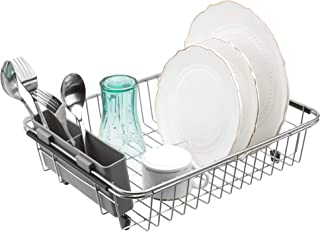 Slideep Expandable Dish Drying Rack, 304 Stainless Steel Over Sink Dish Rack with removable Utensil Holder, Dish Drainer in Sink or On Counter Rustproof Grey