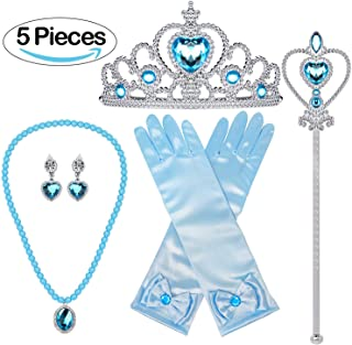 Jashem Belle Princess Crown Wand Necklaces Gloves Tiara Birthday Gift Xmas Presents for Girls