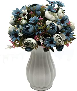 CATTREE Artificial Peony Bud Mixed Flowers, 4pcs Plastic Plants Silk Fake Flowers Bouquet Bridal Home Garden Office Kitchen Bathroom Table Centerpieces Wedding Decor Decorations Blue