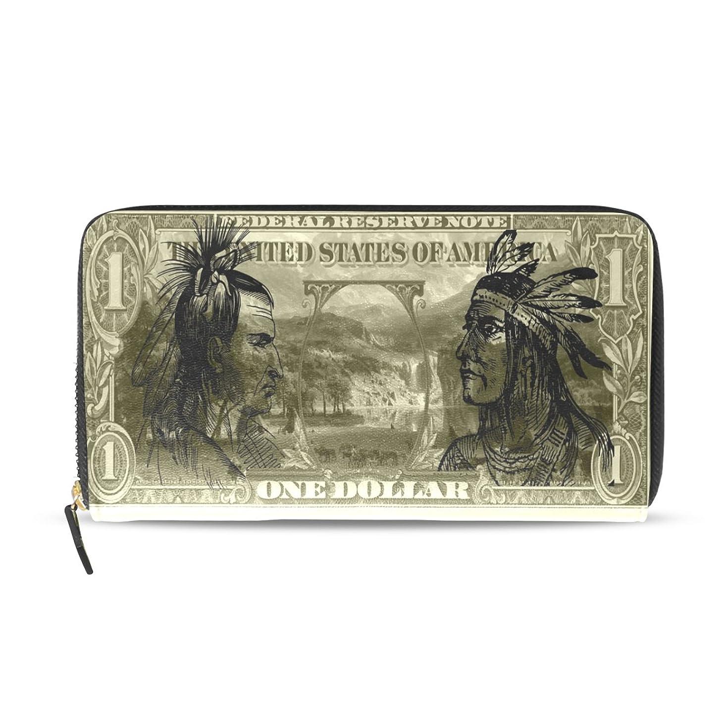 シェル啓示中国マキク(MAKIKU) 財布 長財布 レディース 革 大容量 ラウンドファスナー PUレザー 小銭入れ カード12枚収納 プレゼント対応 お札柄 インディアン おもしろ