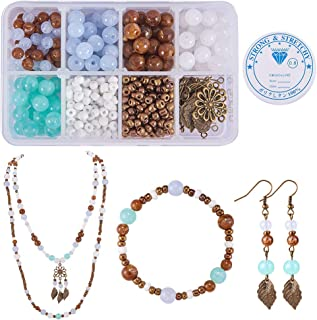 SUNNYCLUE 1 Box 400+pcs DIY 1 Set Jewelry Making Kit Jewelry Making Supplies Bead Beading Starter Kit Findings Instrution for Adults Girls Women Beginners, Antique Bronze