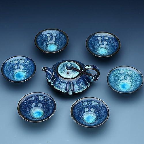 YAN Kung Fu Ensemble de Thé Tianmu émaillé Four Four Ensemble en Céramique Paquet Cadeau Boîte